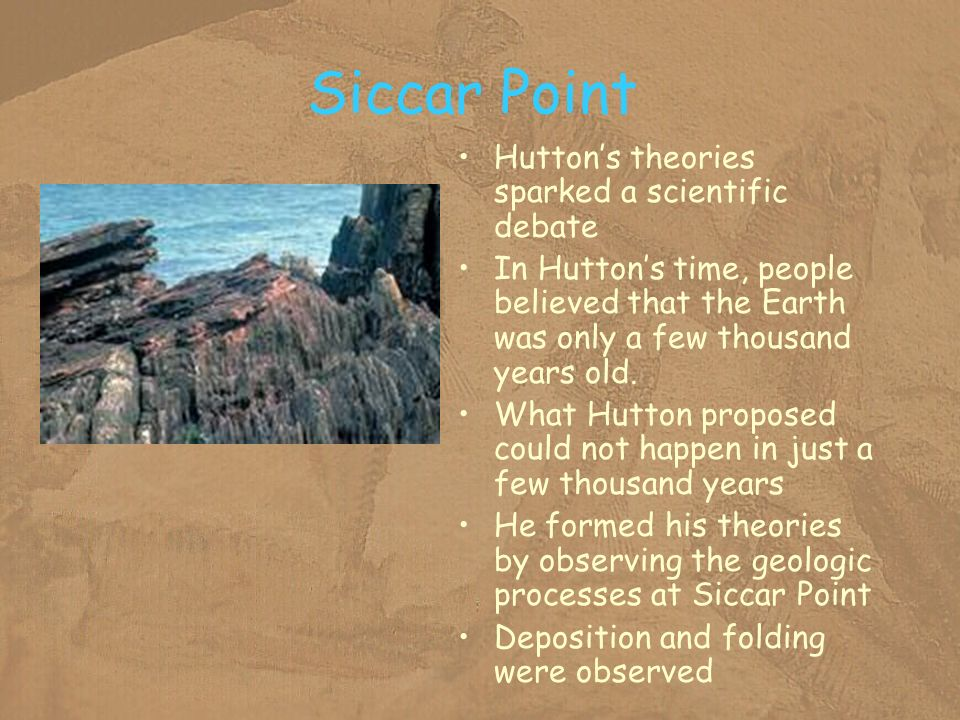 Siccar Point Hutton's theories sparked a scientific debate