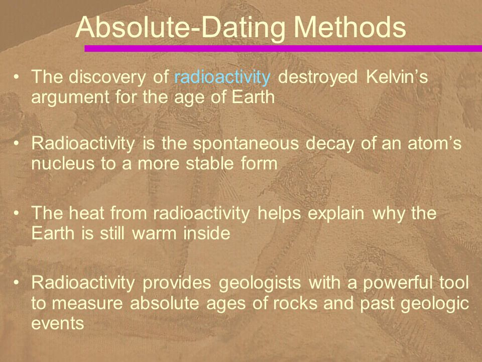 list of absolute dating methods Relative dating in archeology  the question, how old is it, is basic to the science of archaeology  absolute dating methods are not always useful.