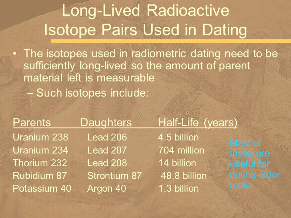 Long-Lived Radioactive Isotope Pairs Used in Dating