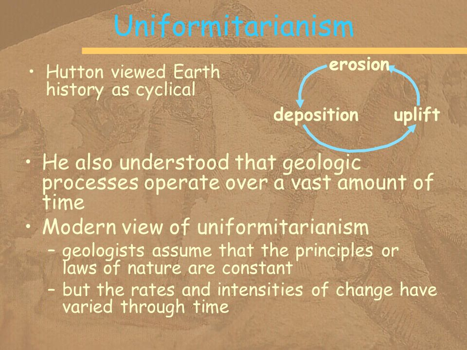 Uniformitarianism erosion. deposition. uplift. Hutton viewed Earth history as cyclical.