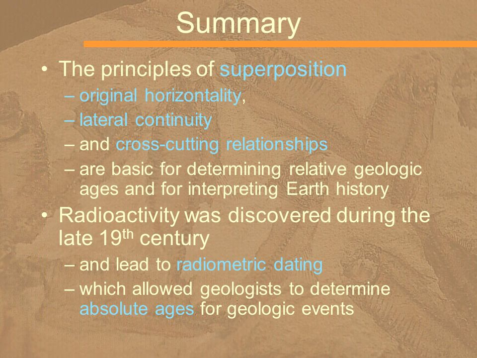 Summary The principles of superposition