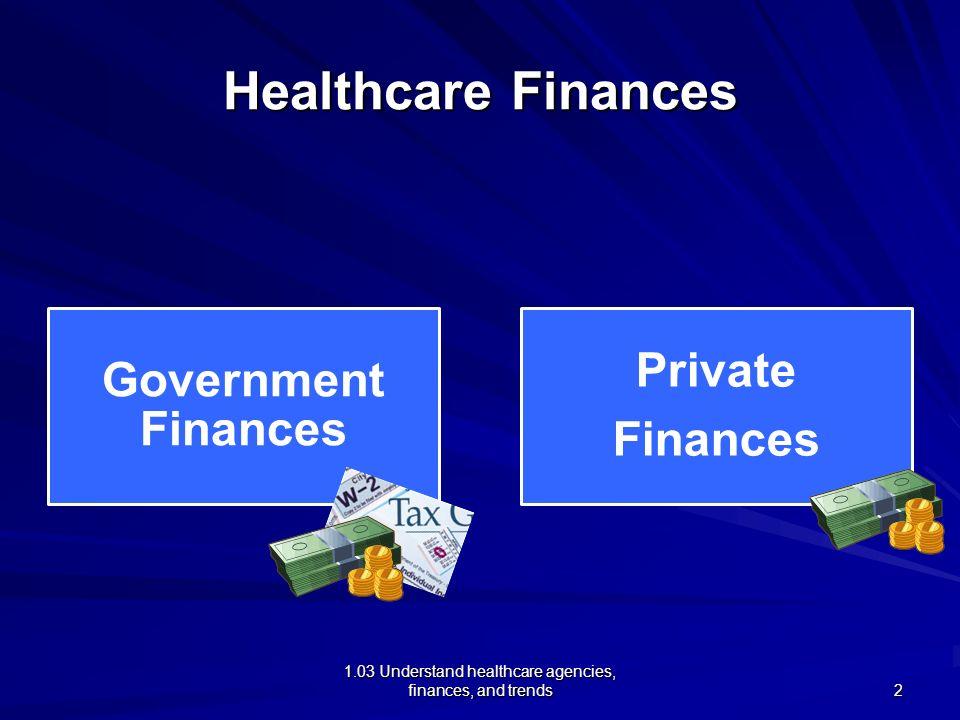1.03 Understand healthcare agencies, finances, and trends