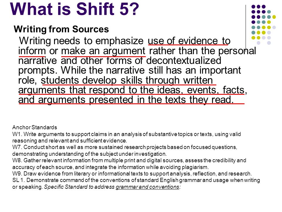 What is Shift 5 Writing from Sources