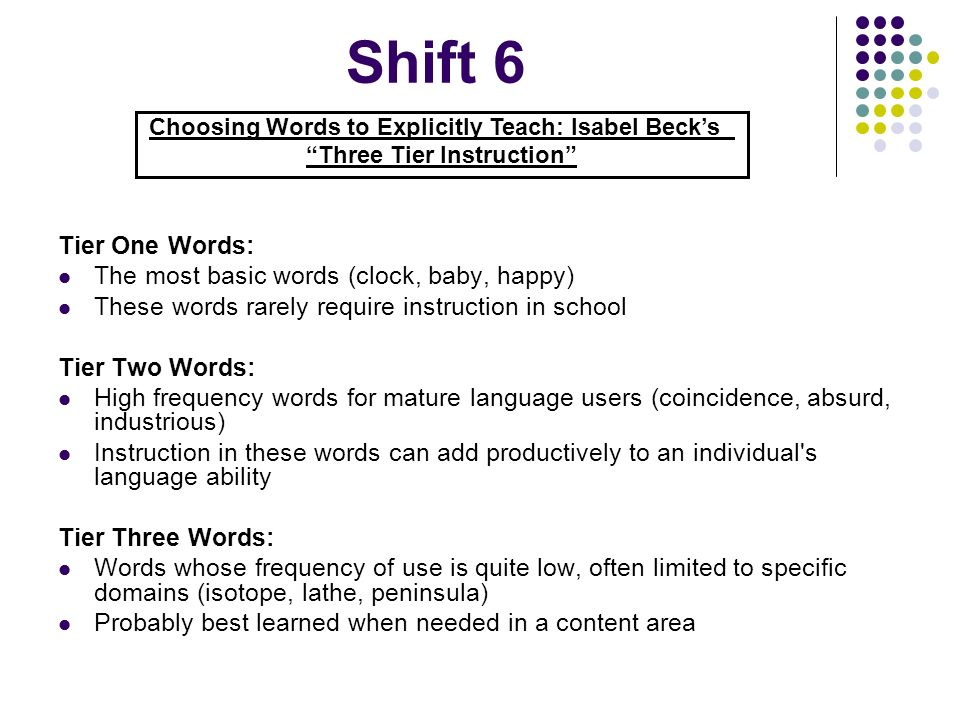Shift 6 Tier One Words: The most basic words (clock, baby, happy)