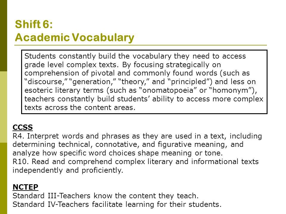 Shift 6: Academic Vocabulary