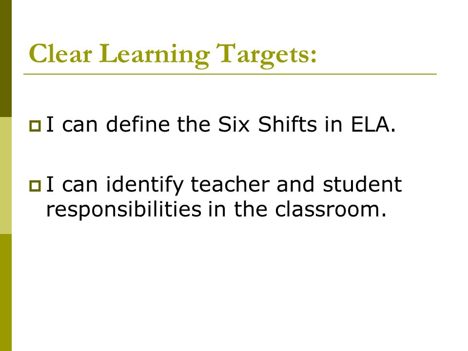 Clear Learning Targets: