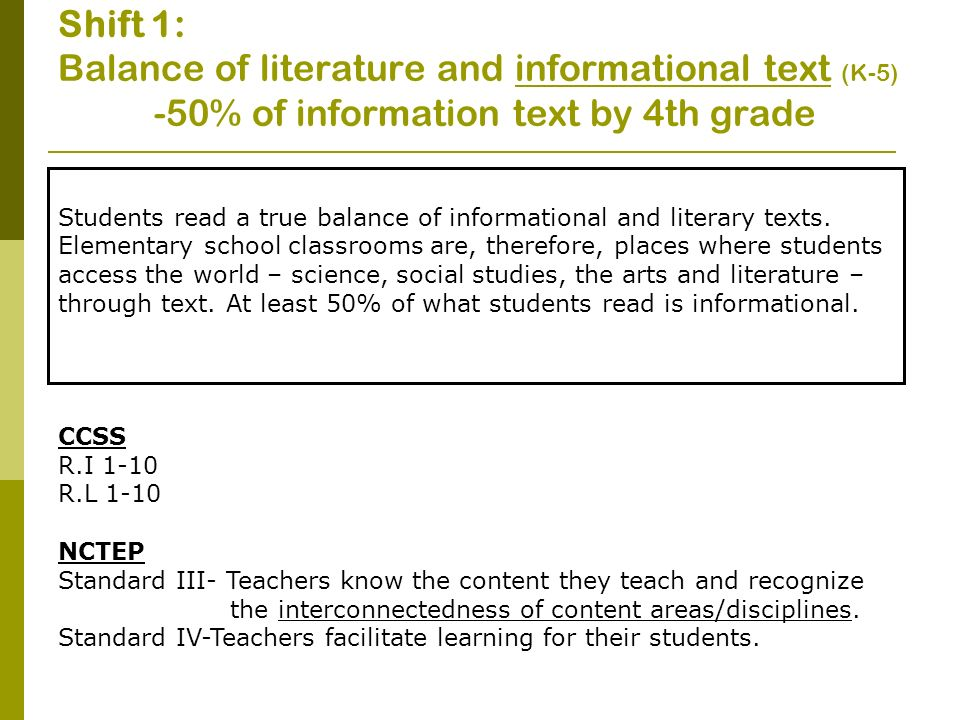 Shift 1: Balance of literature and informational text (K-5)