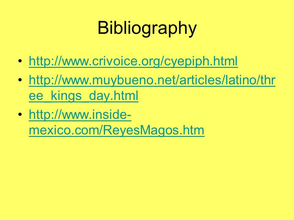 Bibliography http://www.crivoice.org/cyepiph.html
