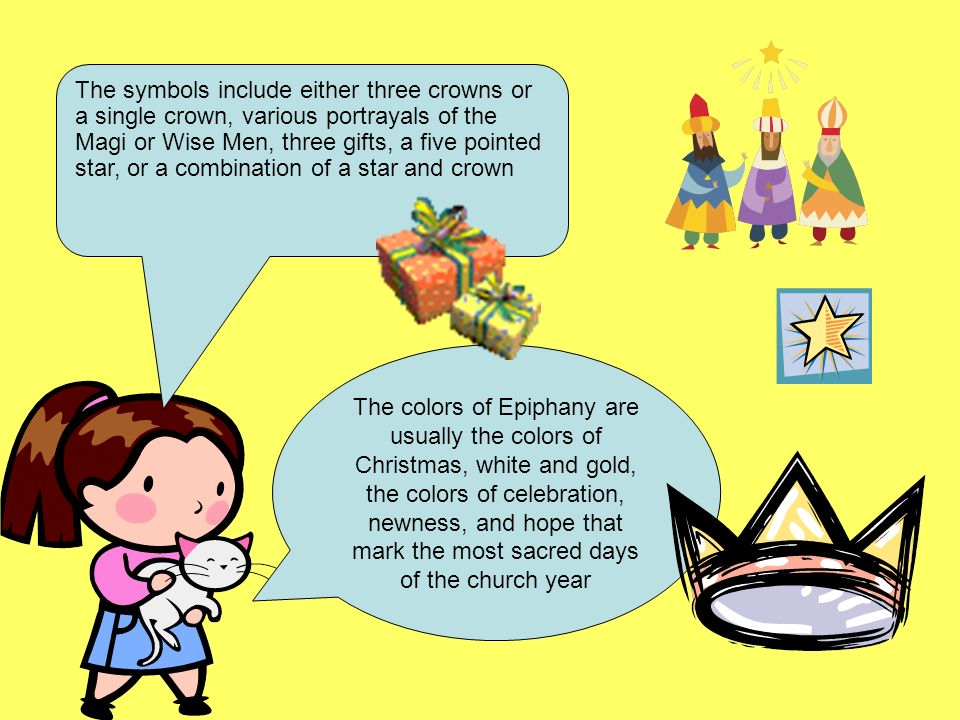 The symbols include either three crowns or a single crown, various portrayals of the Magi or Wise Men, three gifts, a five pointed star, or a combination of a star and crown