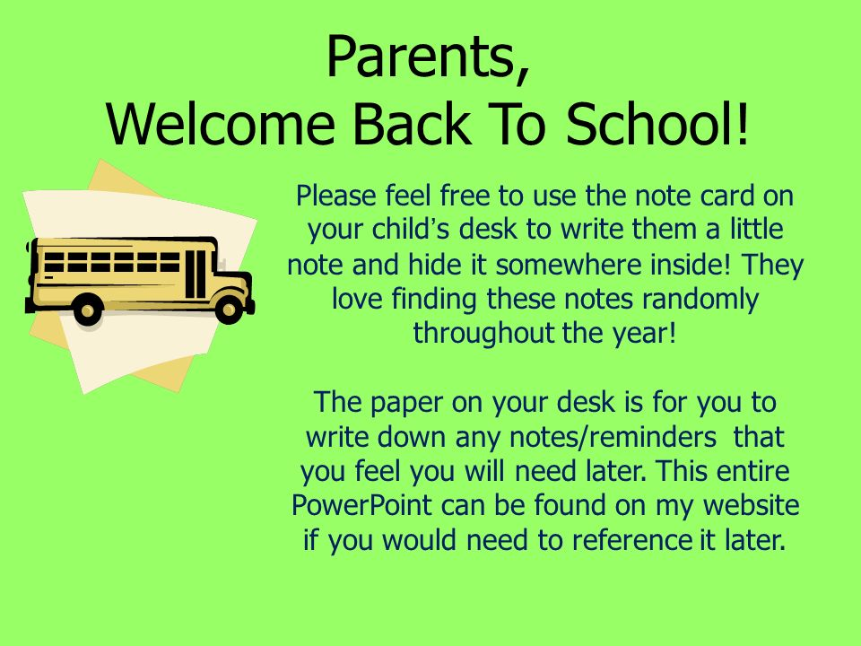 parents welcome back to school