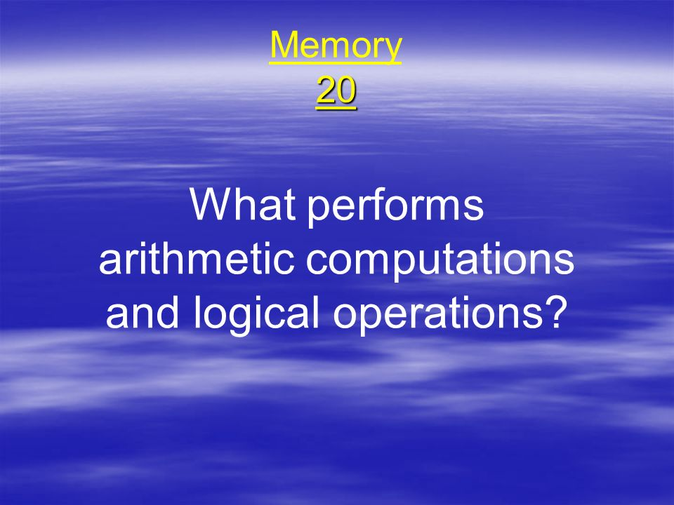 What performs arithmetic computations and logical operations