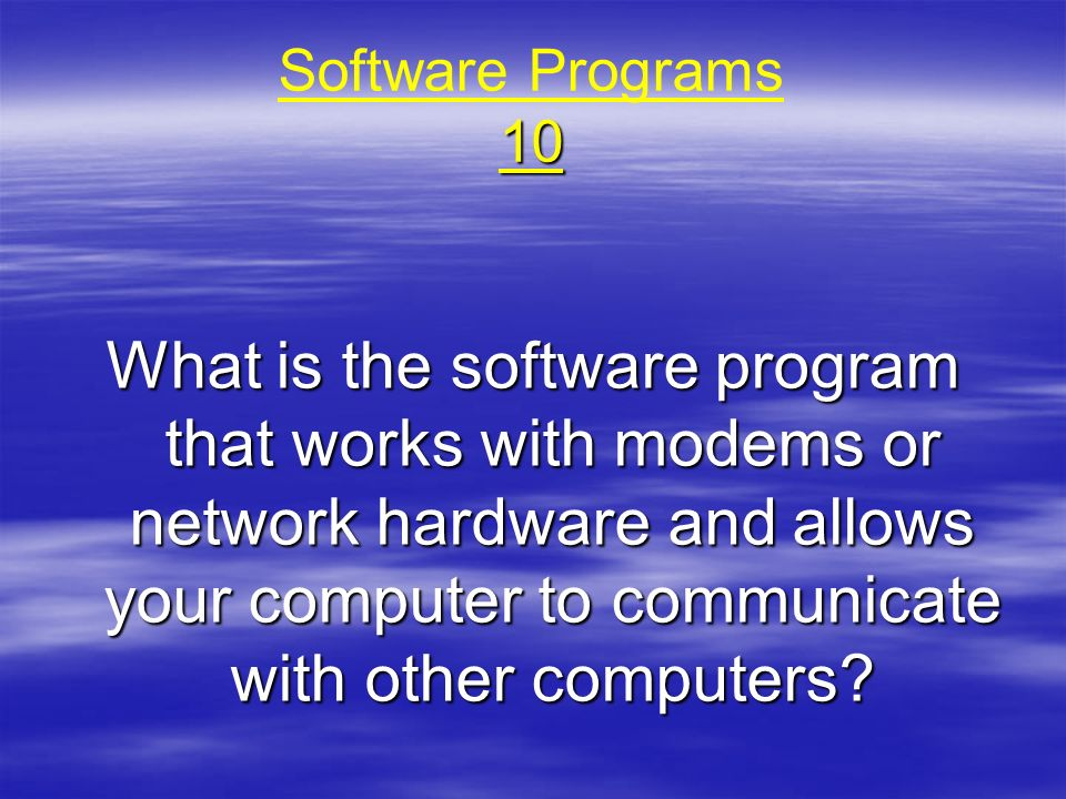 Software Programs 10