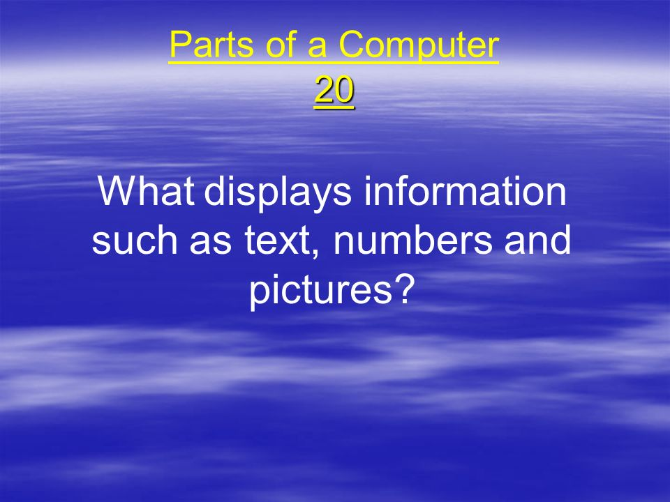 What displays information such as text, numbers and pictures