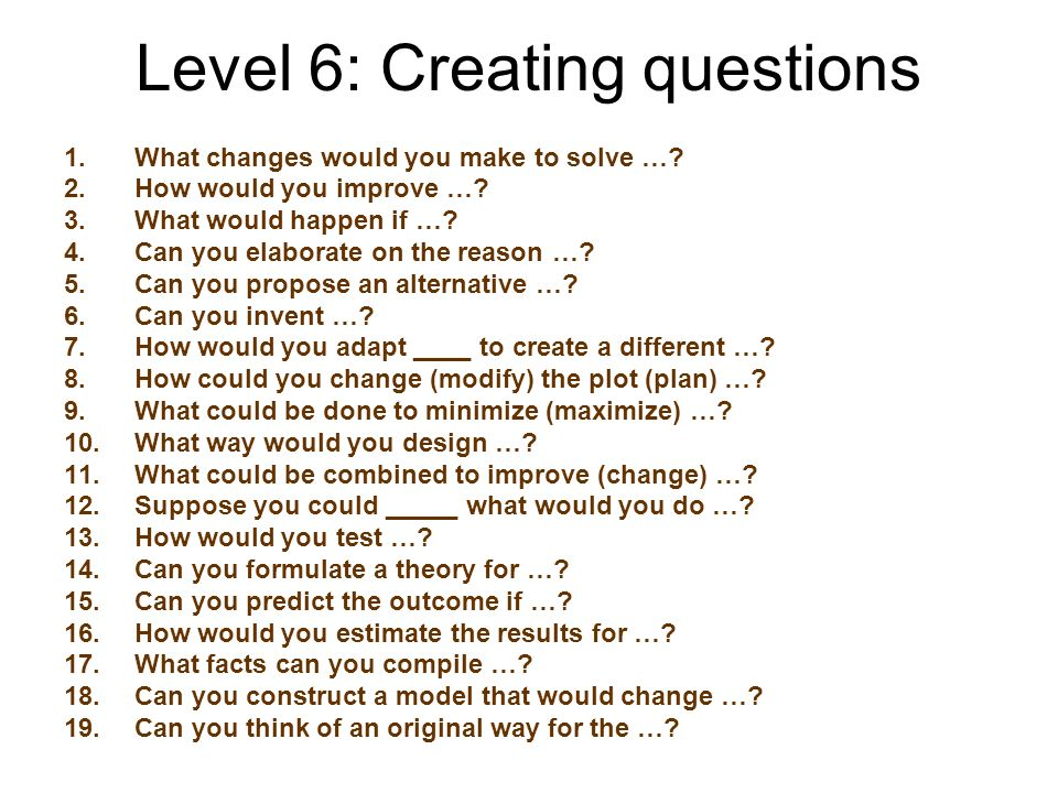 Level 6: Creating questions