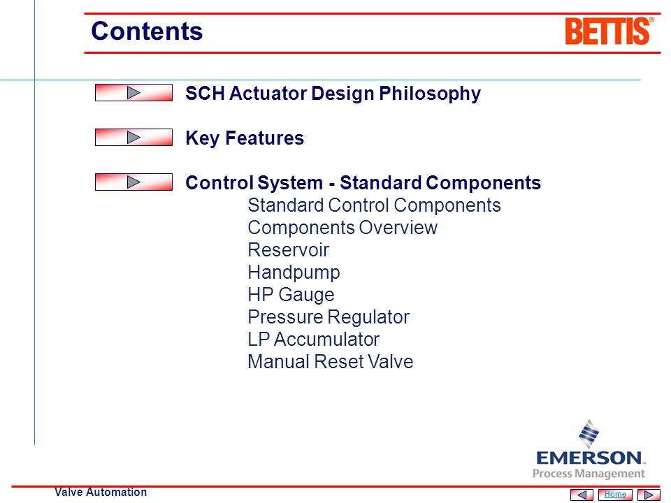 Contents SCH Actuator Design Philosophy Key Features