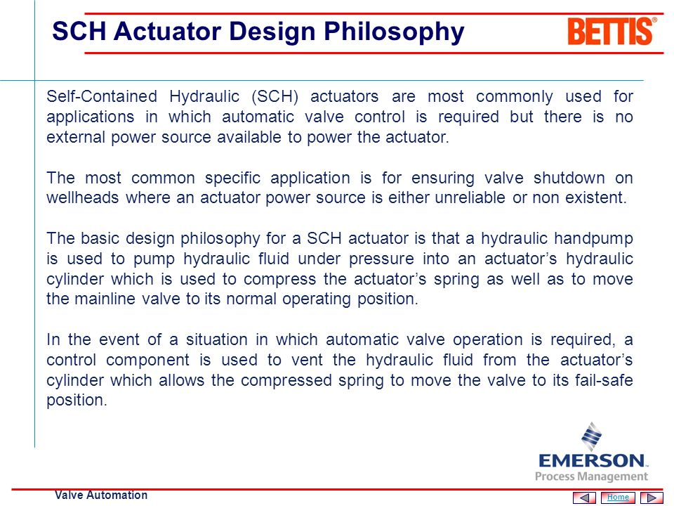 SCH Actuator Design Philosophy