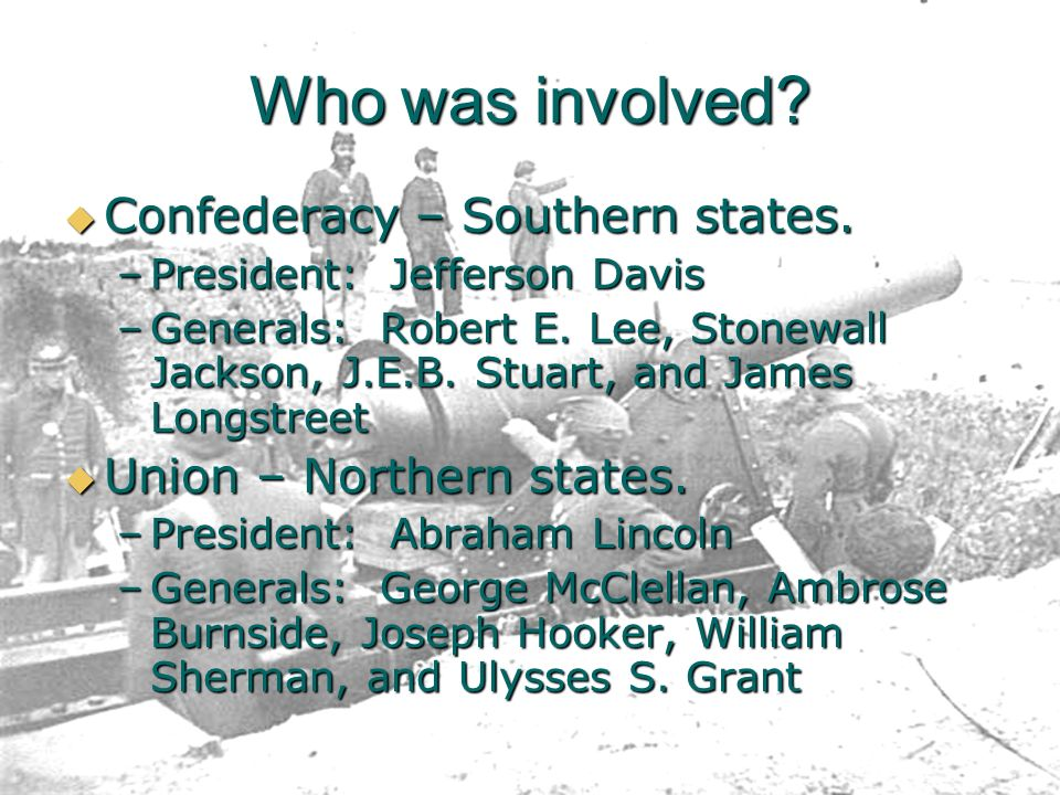 Who was involved Confederacy – Southern states.