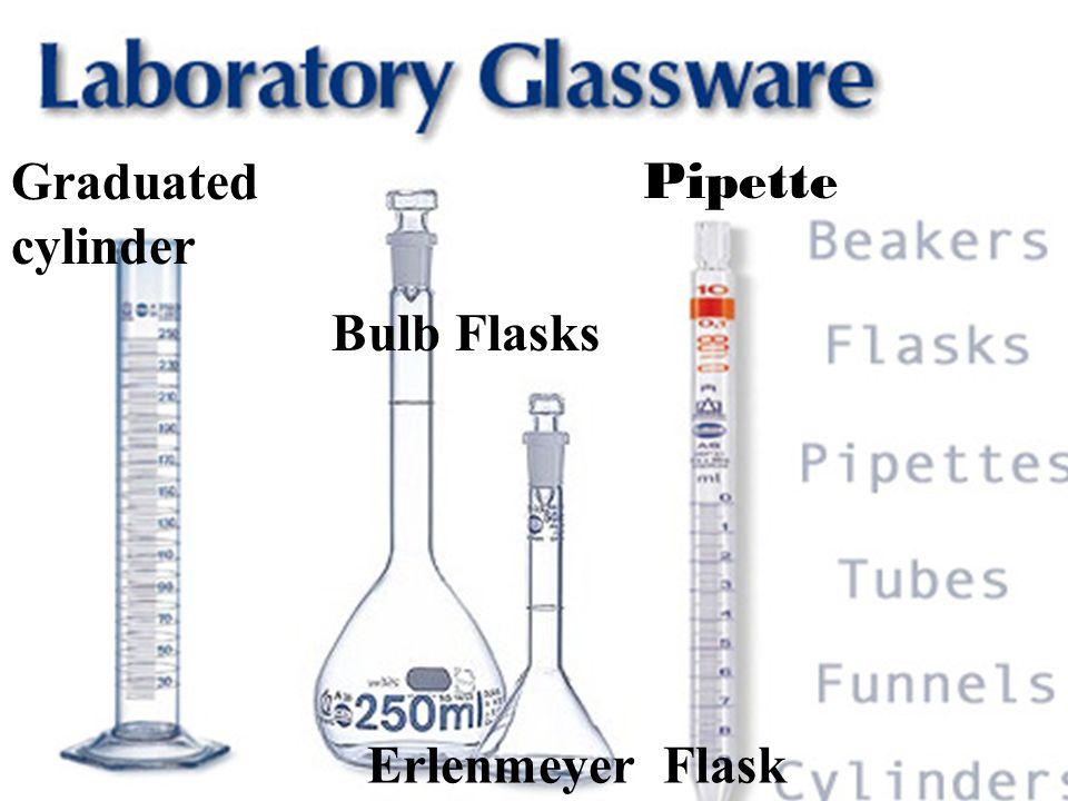 Graduated cylinder Pipette Bulb Flasks Erlenmeyer Flask