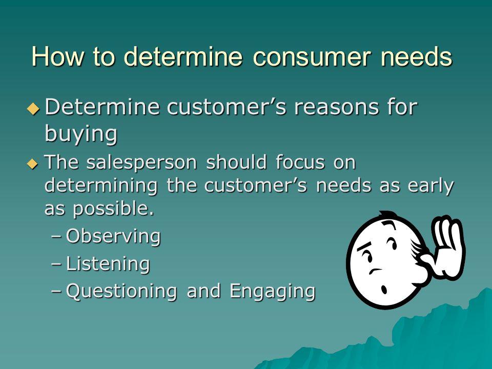 How to determine consumer needs