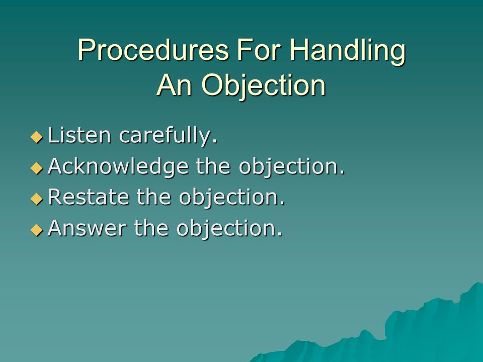 Procedures For Handling An Objection