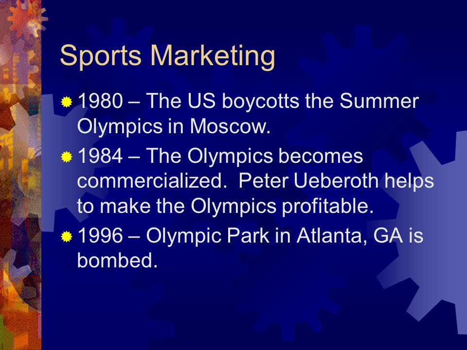 Sports Marketing 1980 – The US boycotts the Summer Olympics in Moscow.