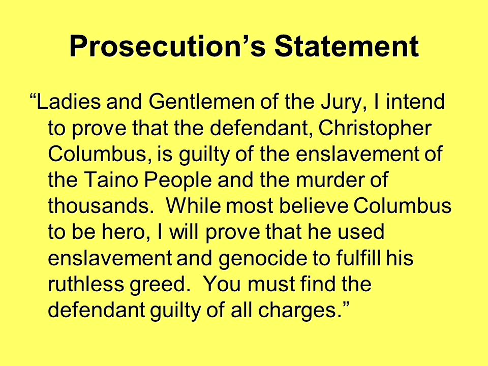 Prosecution's Statement