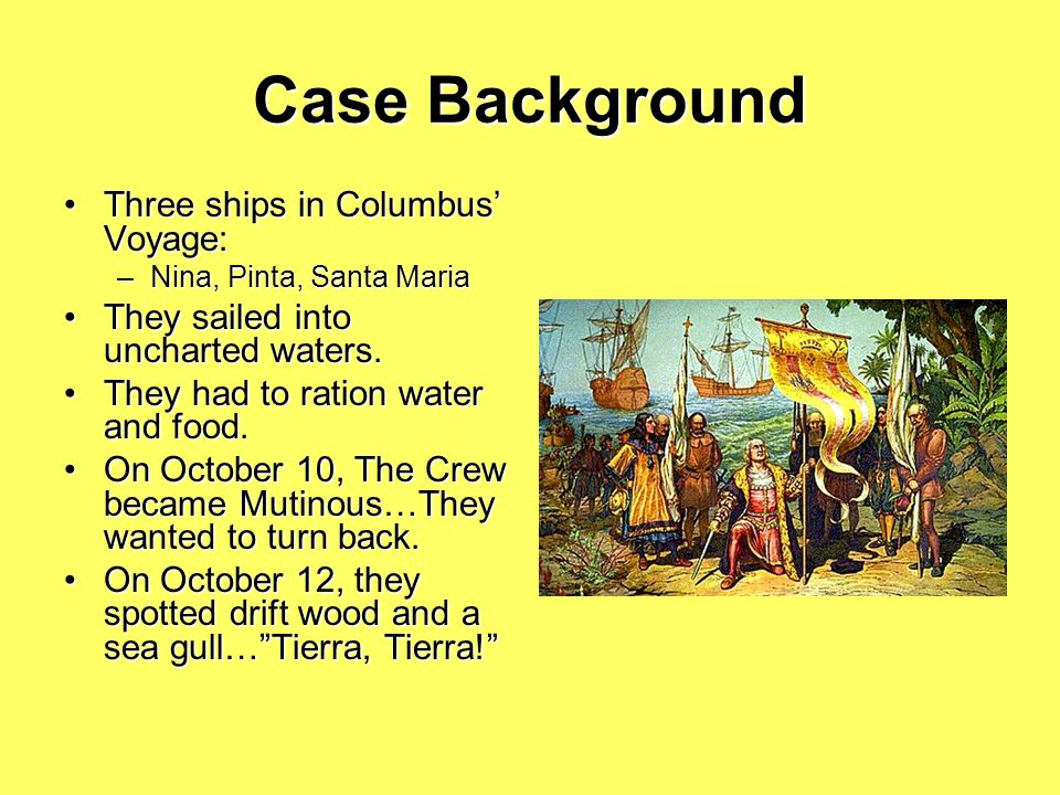 Case Background Three ships in Columbus' Voyage: