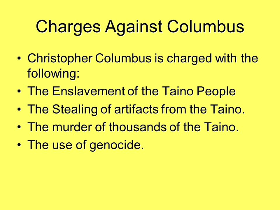 Charges Against Columbus