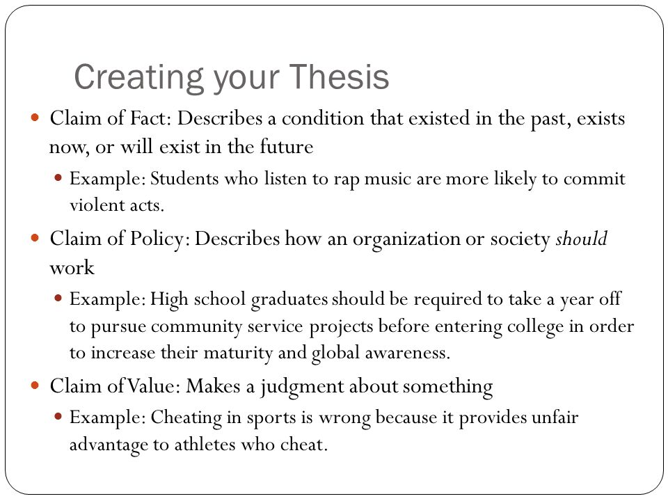 claim thesis Guidelines for writing a claim essay analysis vs synthesis : a claim is a conclusion which one can reach after analysis of resource material.