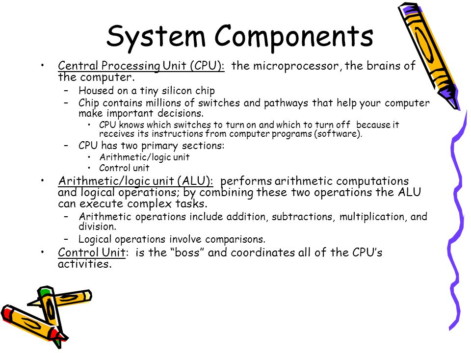 System Components Central Processing Unit (CPU): the microprocessor, the brains of the computer. Housed on a tiny silicon chip.