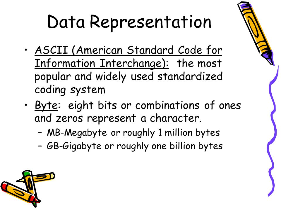 Data Representation ASCII (American Standard Code for Information Interchange): the most popular and widely used standardized coding system.