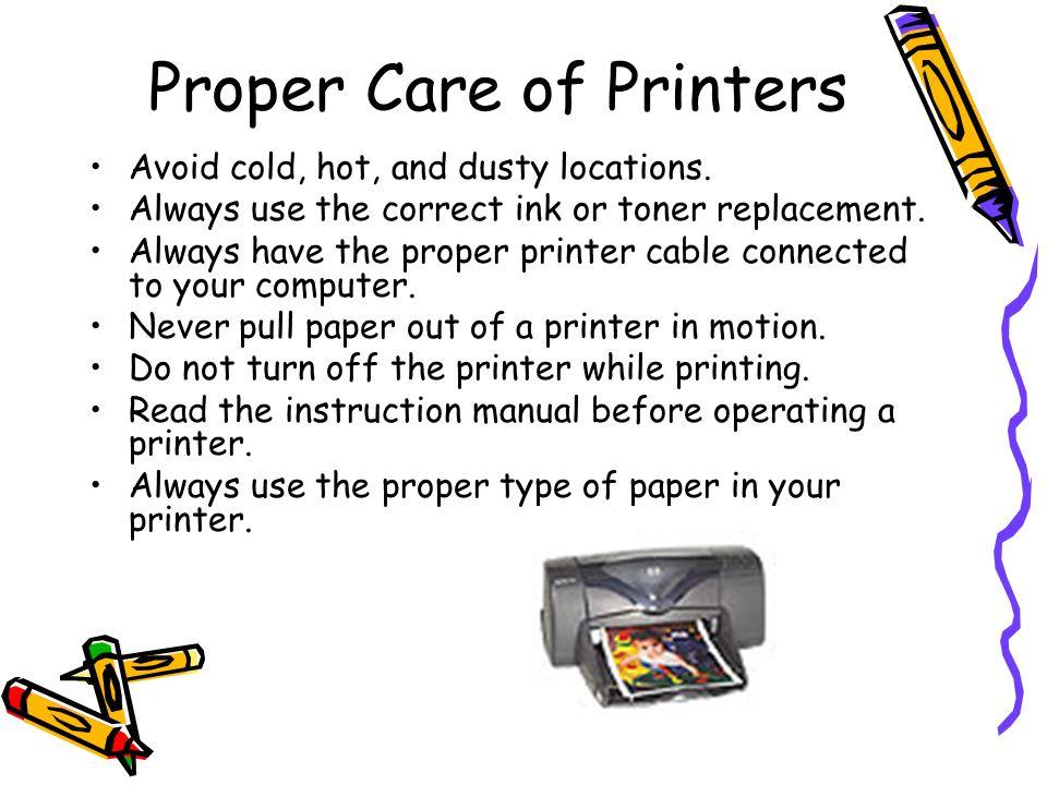 Proper Care of Printers