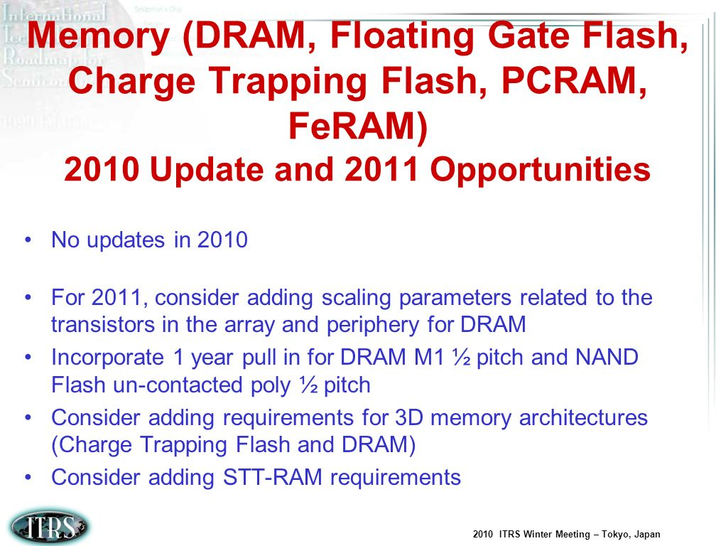 Memory (DRAM, Floating Gate Flash, Charge Trapping Flash, PCRAM, FeRAM) 2010 Update and 2011 Opportunities