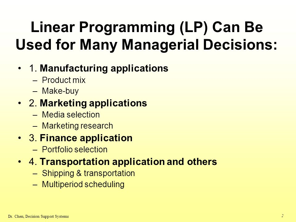 using linear programming for marketing research