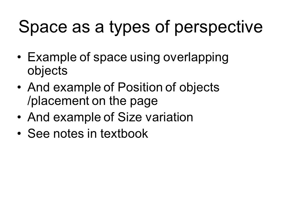 Space as a types of perspective