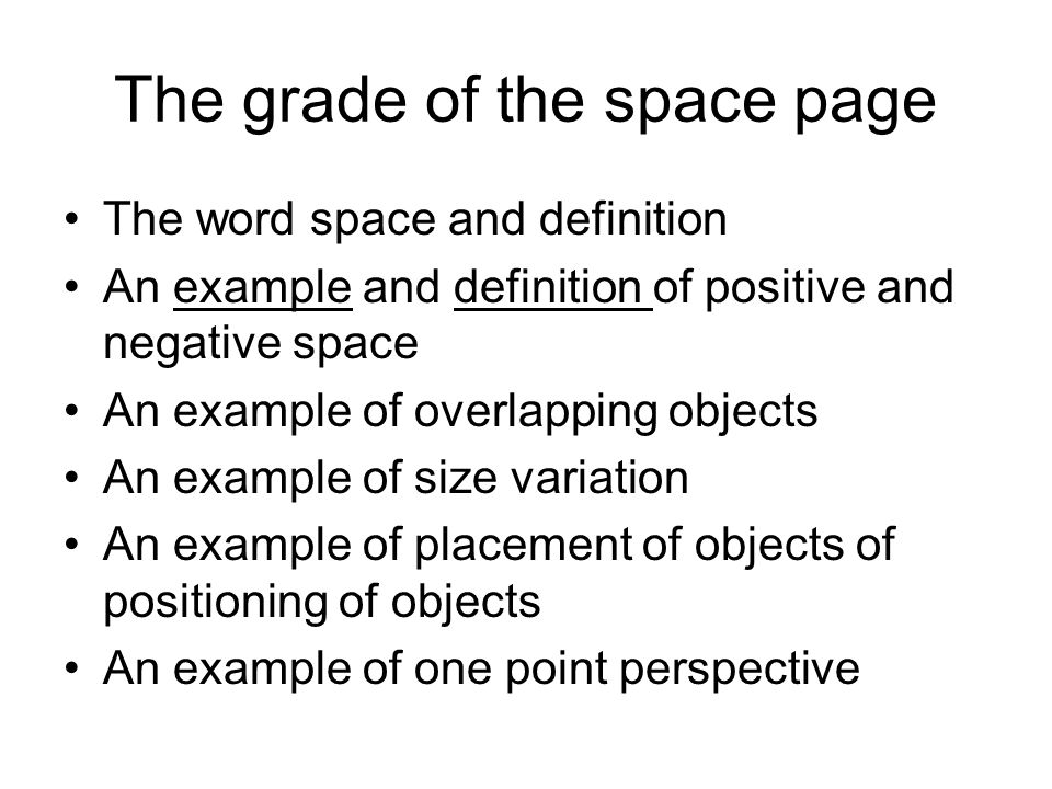 The grade of the space page
