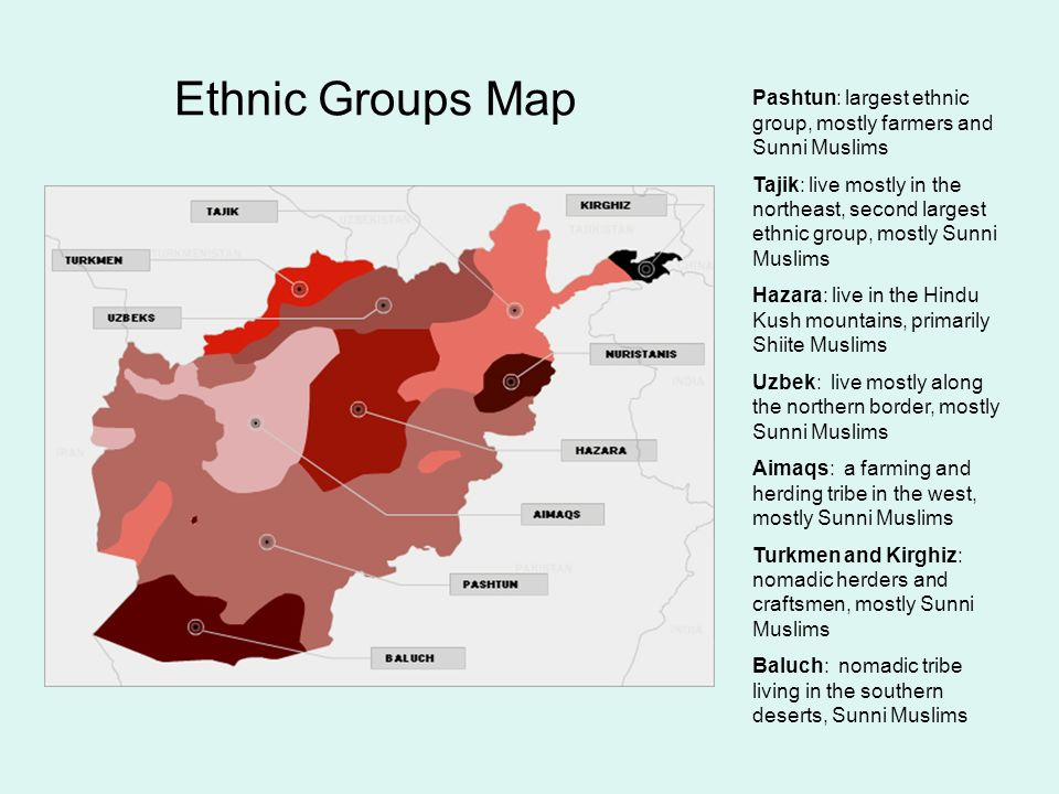 Ethnic Groups Map Pashtun: largest ethnic group, mostly farmers and Sunni Muslims.