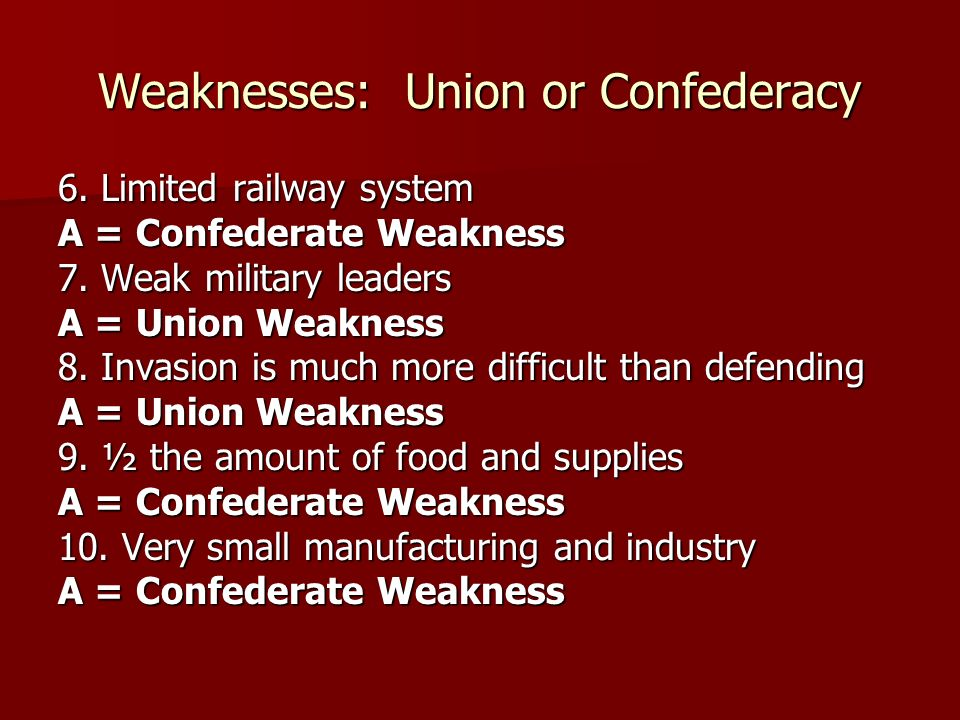 Weaknesses: Union or Confederacy