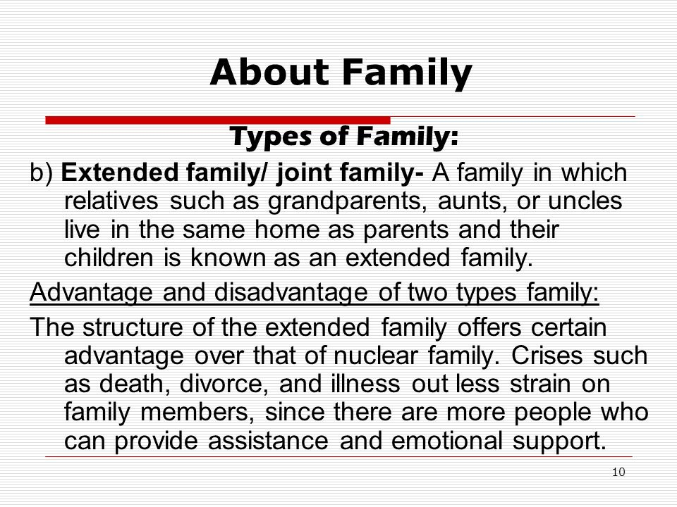 what are the disadvantages of extended family