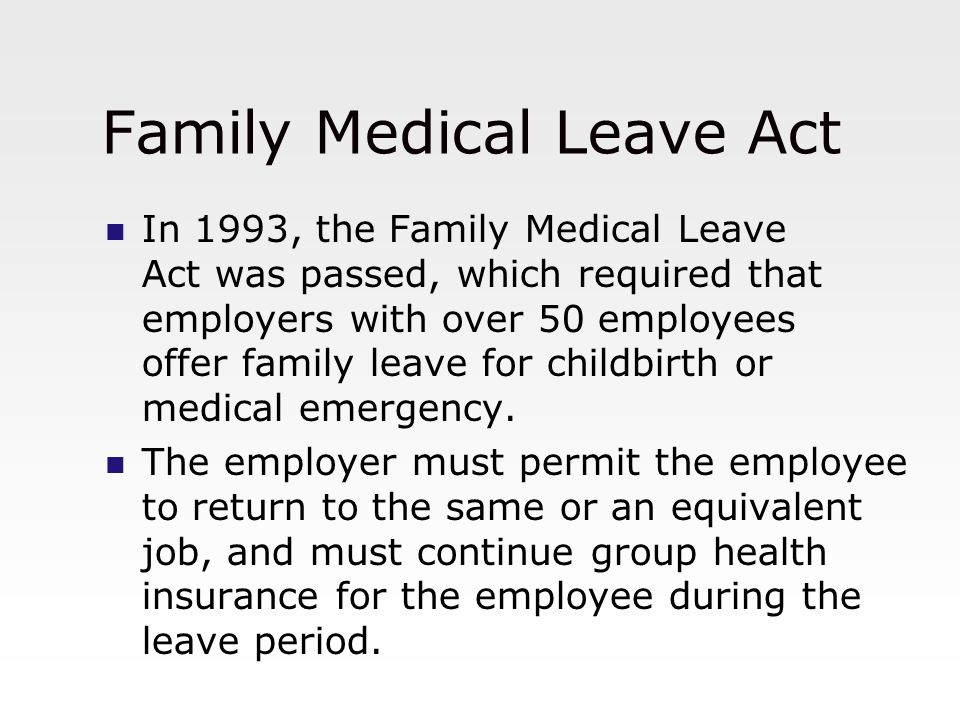 the family medical leave act The family medical leave act overview of fmla the family & medical leave act (fmla) allows employees to take job-protected unpaid leave when they have a serious.