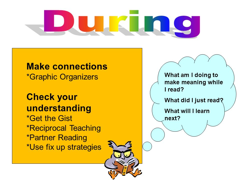 During Make connections Check your understanding *Graphic Organizers