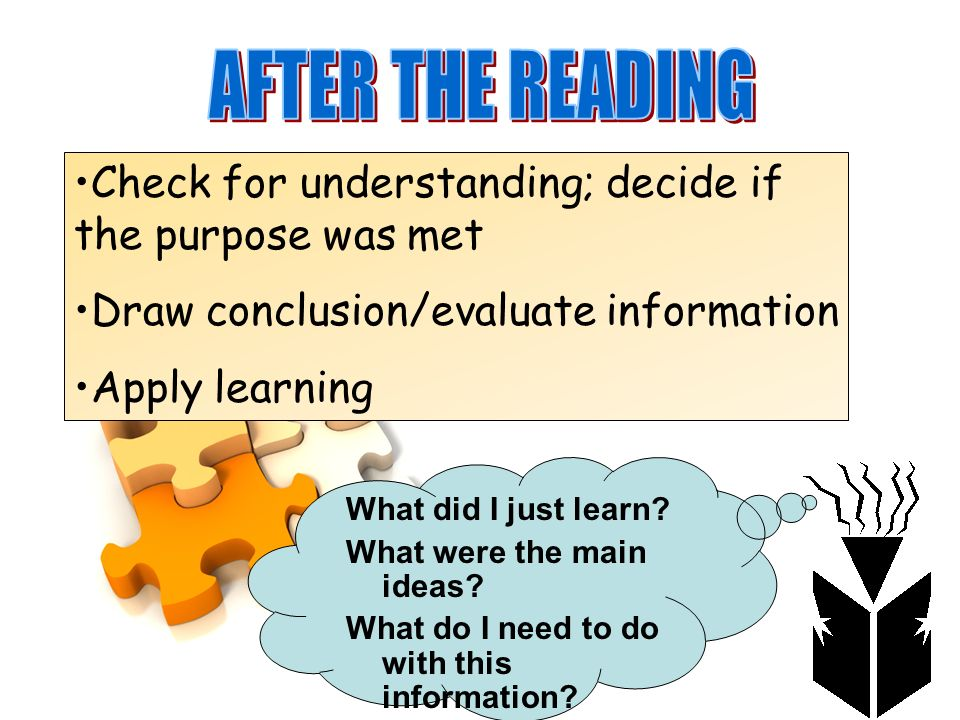 AFTER THE READING Check for understanding; decide if the purpose was met. Draw conclusion/evaluate information.