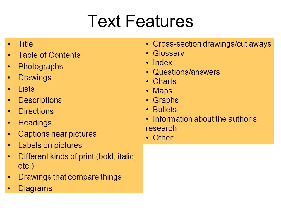 Text Features Title Table of Contents Photographs Drawings Lists