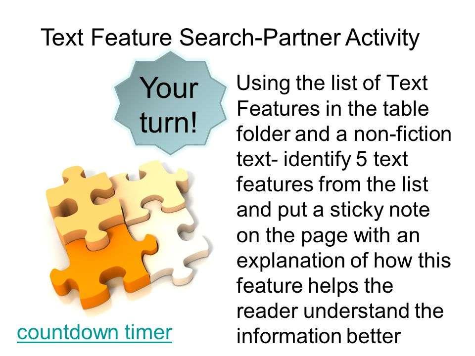 Your turn! Text Feature Search-Partner Activity