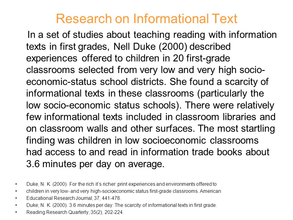 Research on Informational Text