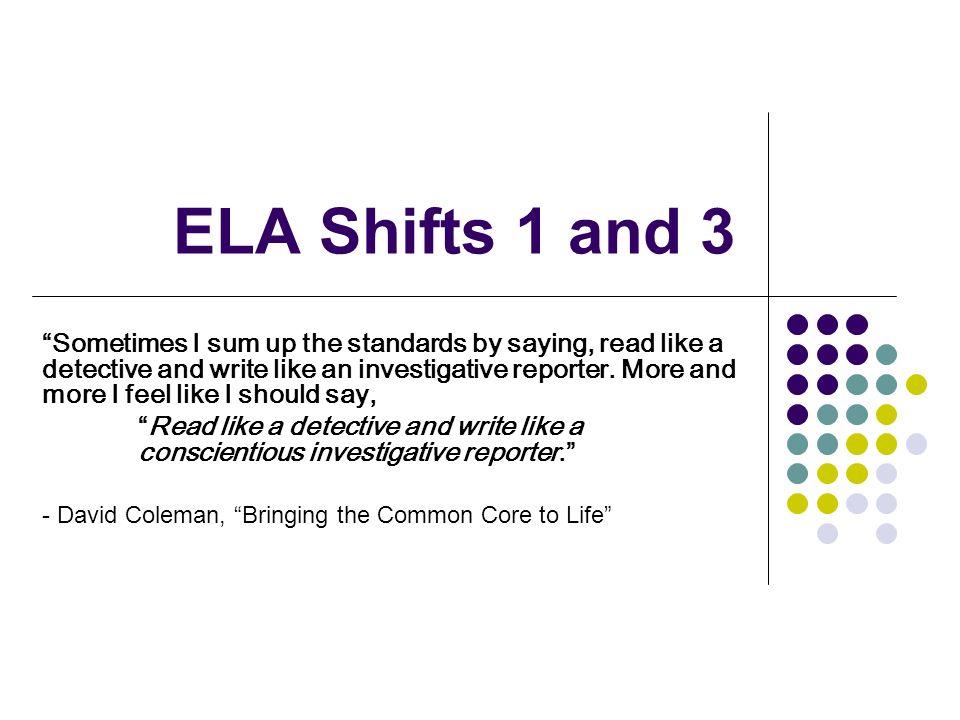 ELA Shifts 1 and 3