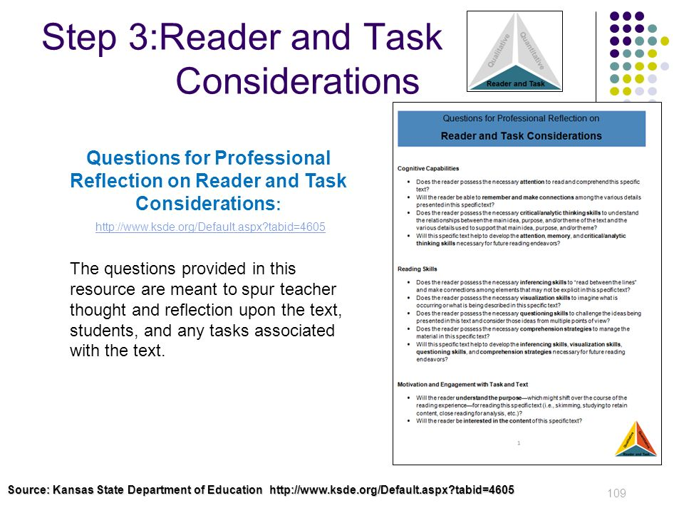 Step 3:Reader and Task Considerations
