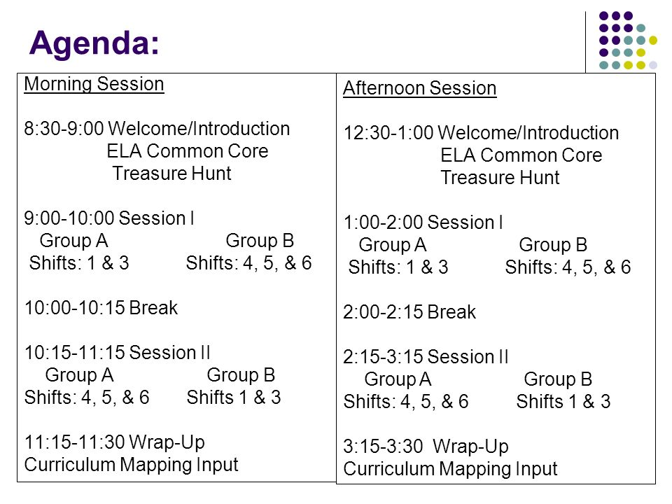 Agenda: Morning Session 8:30-9:00 Welcome/Introduction ELA Common Core