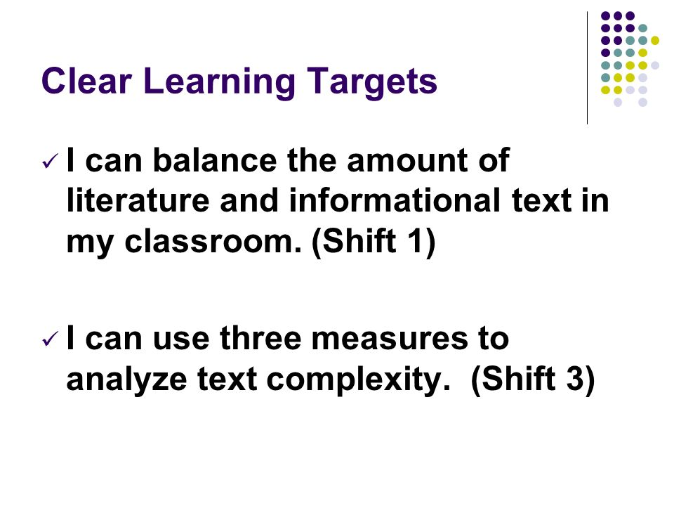Clear Learning Targets