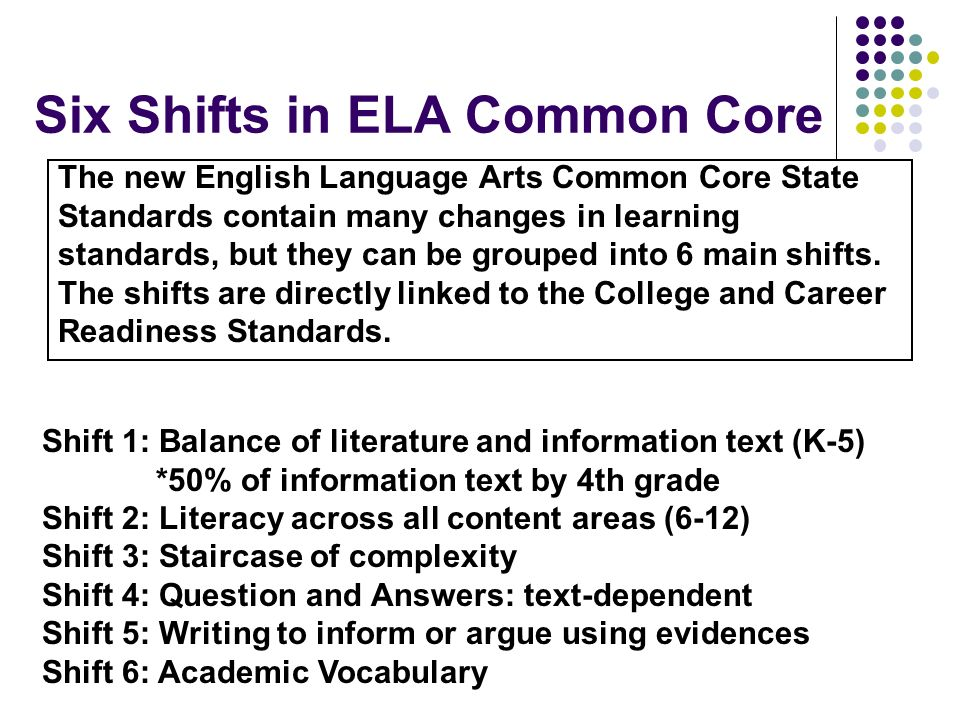 Six Shifts in ELA Common Core